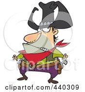 Royalty Free RF Clip Art Illustration Of A Cartoon Bad Cowboy Ready To Draw His Guns