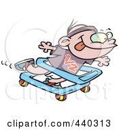 Royalty Free RF Clip Art Illustration Of A Cartoon Baby Boy Running In A Walker
