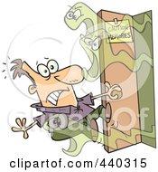 Royalty Free RF Clip Art Illustration Of A Cartoon Man Opening A Door Of Bad Memories