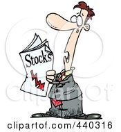 Royalty Free RF Clip Art Illustration Of A Cartoon Man Reading Bad News In The Stocks Pages
