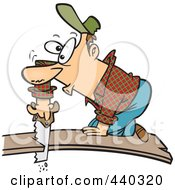 Royalty Free RF Clip Art Illustration Of A Cartoon Bad Carpenter Cutting Himself Off Of A Board by toonaday