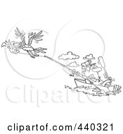 Royalty Free RF Clip Art Illustration Of A Cartoon Black And White Outline Design Of A Bad Gull Stealing A Fish From A Fisherman