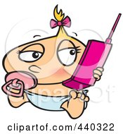 Royalty Free RF Clip Art Illustration Of A Cartoon Baby Girl Using A Cell Phone by toonaday