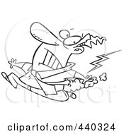 Royalty Free RF Clip Art Illustration Of A Cartoon Black And White Outline Design Of A Businessman Running From Bad Karma by toonaday