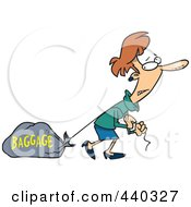 Royalty Free RF Clip Art Illustration Of A Cartoon Woman Pulling Heavy Baggage by toonaday