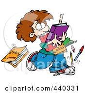 Royalty Free RF Clip Art Illustration Of A Cartoon School Boy Dropping Notes