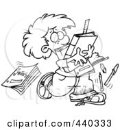Royalty Free RF Clip Art Illustration Of A Cartoon Black And White Outline Design Of A School Boy Dropping Notes
