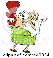 Royalty Free RF Clip Art Illustration Of A Cartoon Woman Tearing Up Her Bad New Years Resolution by toonaday