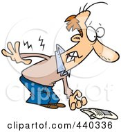 Royalty Free RF Clip Art Illustration Of A Cartoon Man Picking Up A Newspaper And Hurting His Back