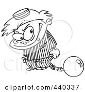 Royalty Free RF Clip Art Illustration Of A Cartoon Black And White Outline Design Of A Bad Boy In A Prison Uniform by toonaday