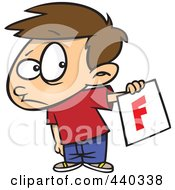 Cartoon Nervous School Boy Holding Out A Bad Report Card