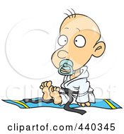 Royalty Free RF Clip Art Illustration Of A Cartoon Baby Boy In A Judoka Robe by toonaday