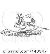 Royalty Free RF Clip Art Illustration Of A Cartoon Black And White Outline Design Of A Baby Boy Water Skiing by toonaday