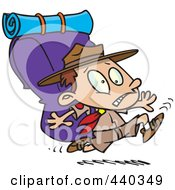 Royalty Free RF Clip Art Illustration Of A Cartoon Boy Scout Running With A Big Back Pack by toonaday