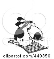Royalty Free RF Clip Art Illustration Of A Cartoon Black And White Outline Design Of A Bad Puppy Sitting On Newspaper In The Corner