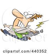 Royalty Free RF Clip Art Illustration Of A Cartoon Businessman Running From Bad Karma by toonaday