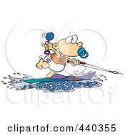 Royalty Free RF Clip Art Illustration Of A Cartoon Baby Boy Water Skiing