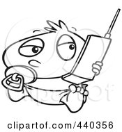 Royalty Free RF Clip Art Illustration Of A Cartoon Black And White Outline Design Of A Baby Boy Using A Cell Phone