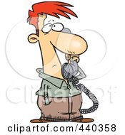 Royalty Free RF Clip Art Illustration Of A Cartoon Man Receiving Bad News On The Phone