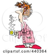 Royalty Free RF Clip Art Illustration Of A Cartoon Tired Woman With Bad Hair Holding Coffee by toonaday #COLLC440364-0008