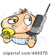 Royalty Free RF Clip Art Illustration Of A Cartoon Baby Boy Using A Cell Phone by toonaday