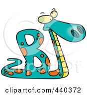 Royalty Free RF Clip Art Illustration Of A Cartoon Basilisk In The Shape Of An Alphabet Letter B by toonaday