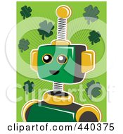 Royalty Free RF Clip Art Illustration Of A St Patricks Day Robot Over A Green Background With Shamrocks