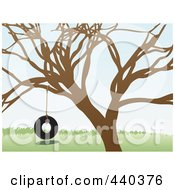 Royalty Free RF Clip Art Illustration Of A Tire Swing Hanging From A Bare Tree by mheld