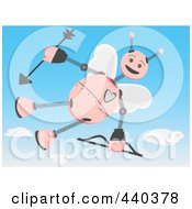 Royalty Free RF Clip Art Illustration Of A Cupid Robot Flying In A Sky by mheld