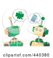 Royalty Free RF Clip Art Illustration Of St Patricks Day Robots Thinking Of Shamrocks And Beer