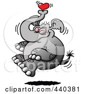 Happy Elephant Floating With A Heart