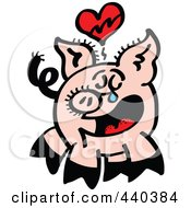 Royalty Free RF Clip Art Illustration Of A Broken Hearted Pig Crying 2 by Zooco