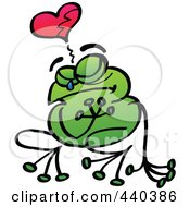 Royalty Free RF Clip Art Illustration Of A Broken Hearted Frog Crying 1 by Zooco