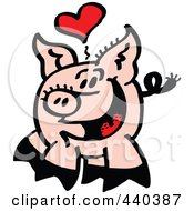 Royalty Free RF Clip Art Illustration Of An Infatuated Pig Smiling 1 by Zooco