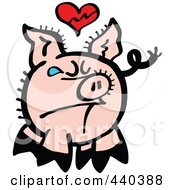 Royalty Free RF Clip Art Illustration Of A Broken Hearted Pig Crying 1 by Zooco