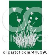 Royalty Free RF Clip Art Illustration Of A Gray Heart Flowering Plant On A Green Background