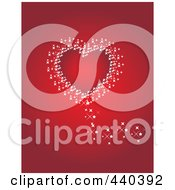 Royalty Free RF Clip Art Illustration Of A Red Heart Bordered In White Sparkles On Red