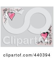 Royalty Free RF Clip Art Illustration Of A Gray Background With Swirly Corners And Hearts