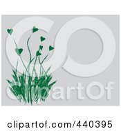 Royalty Free RF Clip Art Illustration Of A Green Heart Flowering Plant On A Gray Background