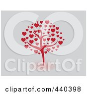 Royalty Free RF Clip Art Illustration Of A Red Tree Of Hearts On Gray