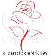 Royalty Free RF Clip Art Illustration Of A Beautiful Red Rose