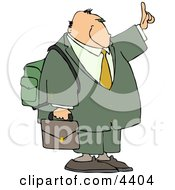 Traveling Businessman Trying To Get A Ride By Holding Hand Out Clipart
