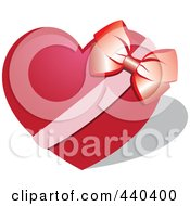 Red Heart With A Bow And Ribbon