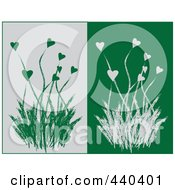 Digital Collage Of Heart Flowers And Grasses On Gray And Green Backgrounds