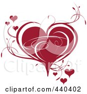 Royalty Free RF Clip Art Illustration Of A Deep Red Heart With Vines by Vitmary Rodriguez #COLLC440402-0040