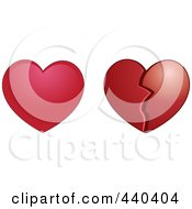 Royalty Free RF Clip Art Illustration Of A Digital Collage Of Whole And Broken Red Hearts