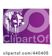 Royalty Free RF Clip Art Illustration Of White Grungy Flowers And Spirals On Purple