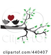 Royalty Free RF Clip Art Illustration Of A Pair Of Love Birds Under A Red Heart In A Tree by Vitmary Rodriguez #COLLC440407-0040