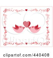 Pair Of Pink Love Birds Under A Red Heart Borderd By Swirls And Hearts