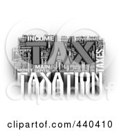 Royalty Free RF Clip Art Illustration Of A 3d Tax Word Collage 2 by MacX